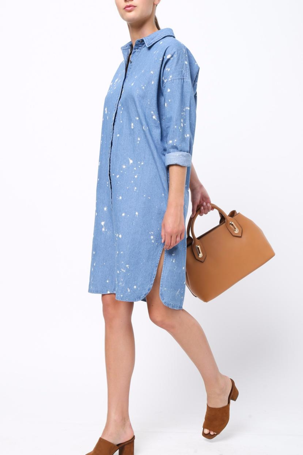 Movint Denim Shirt Dress - Side Cropped Image