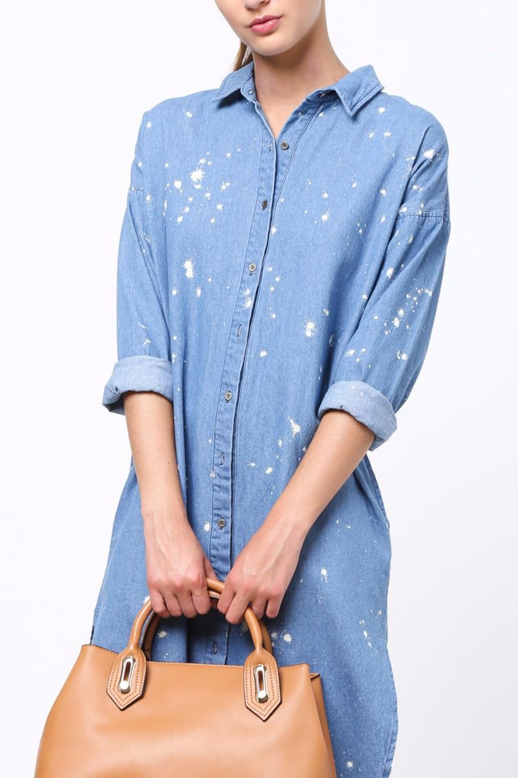 Movint Denim Shirt Dress - Back Cropped Image