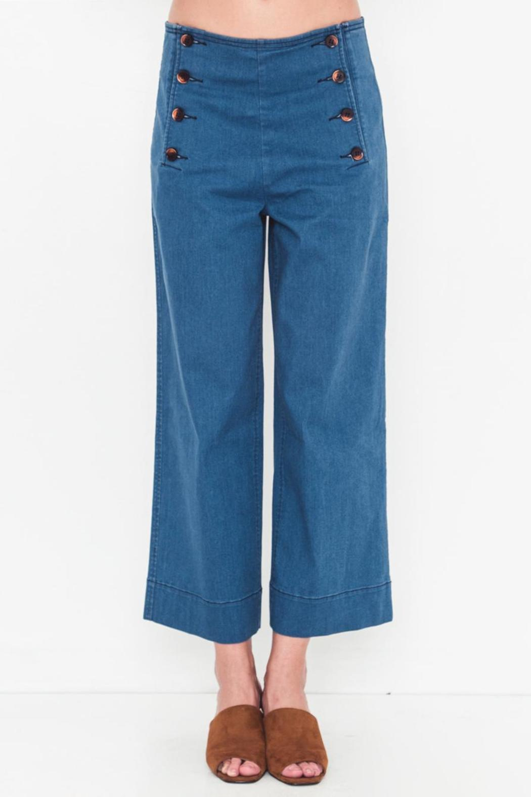 Movint Denim Side Button Pants - Front Cropped Image