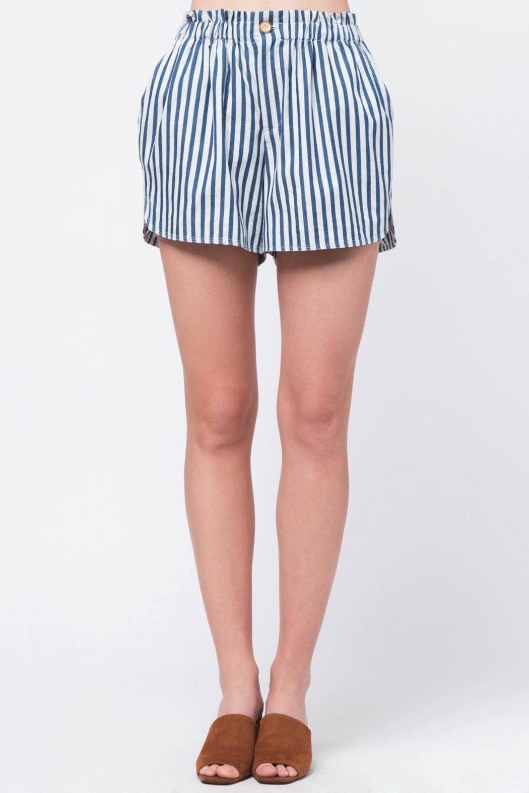 Movint Striped Waist Band Detail Shorts - Front Cropped Image