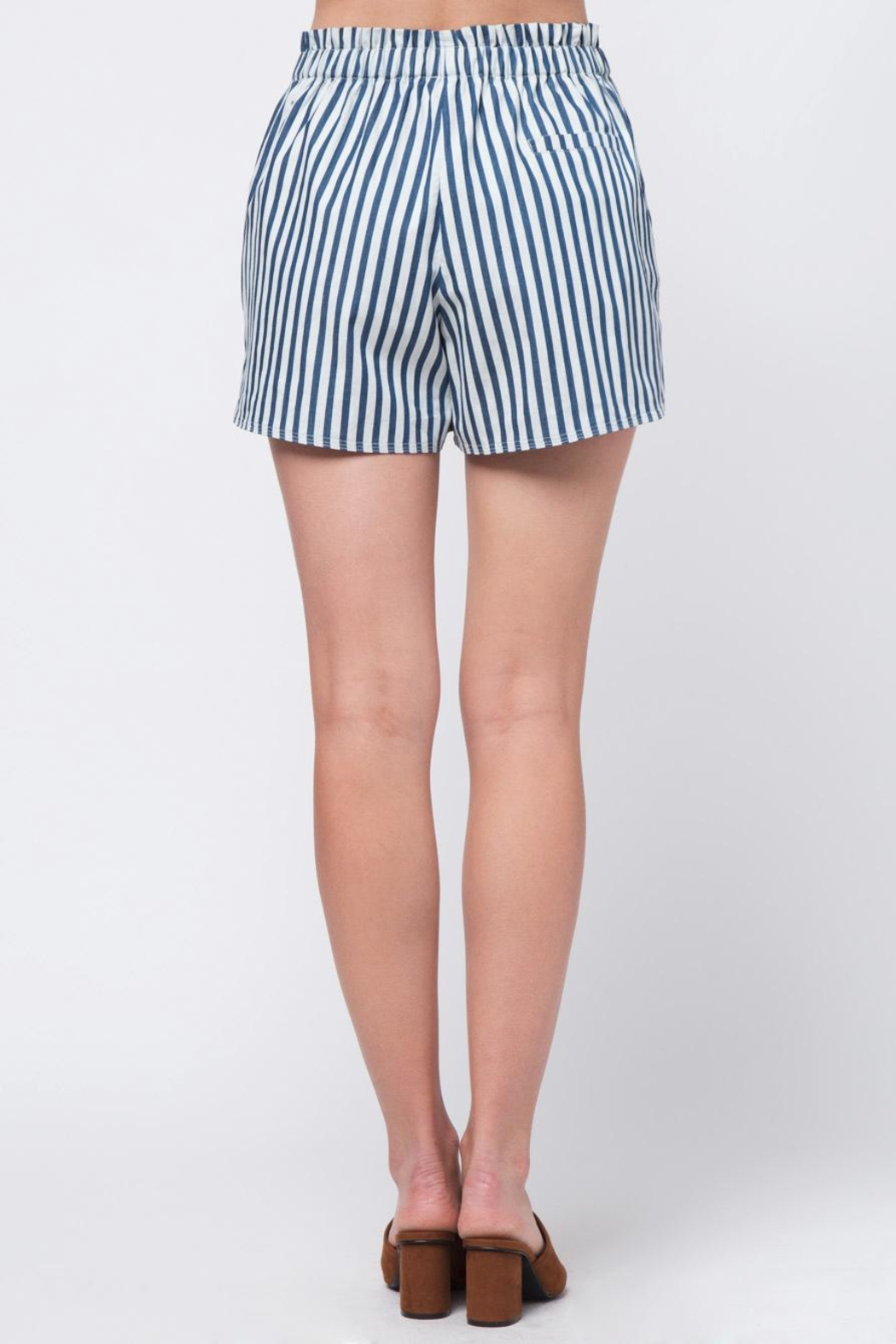 Movint Striped Waist Band Detail Shorts - Side Cropped Image