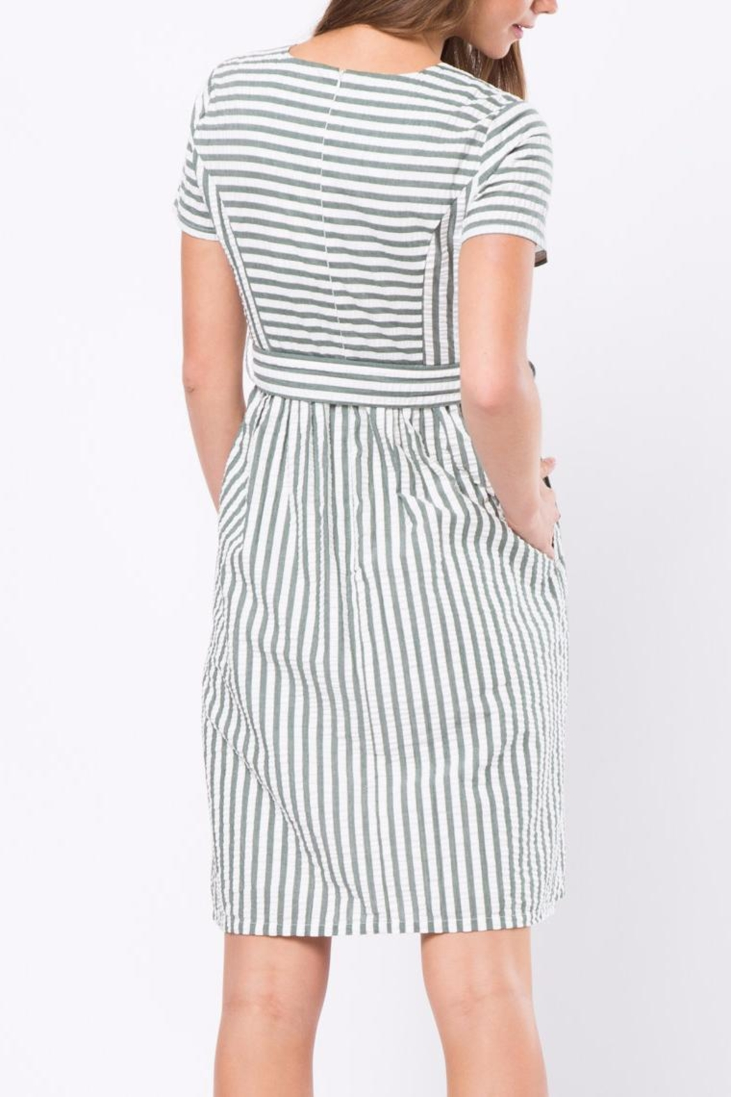 Movint Stripe Dress With Tie Belt - Front Full Image
