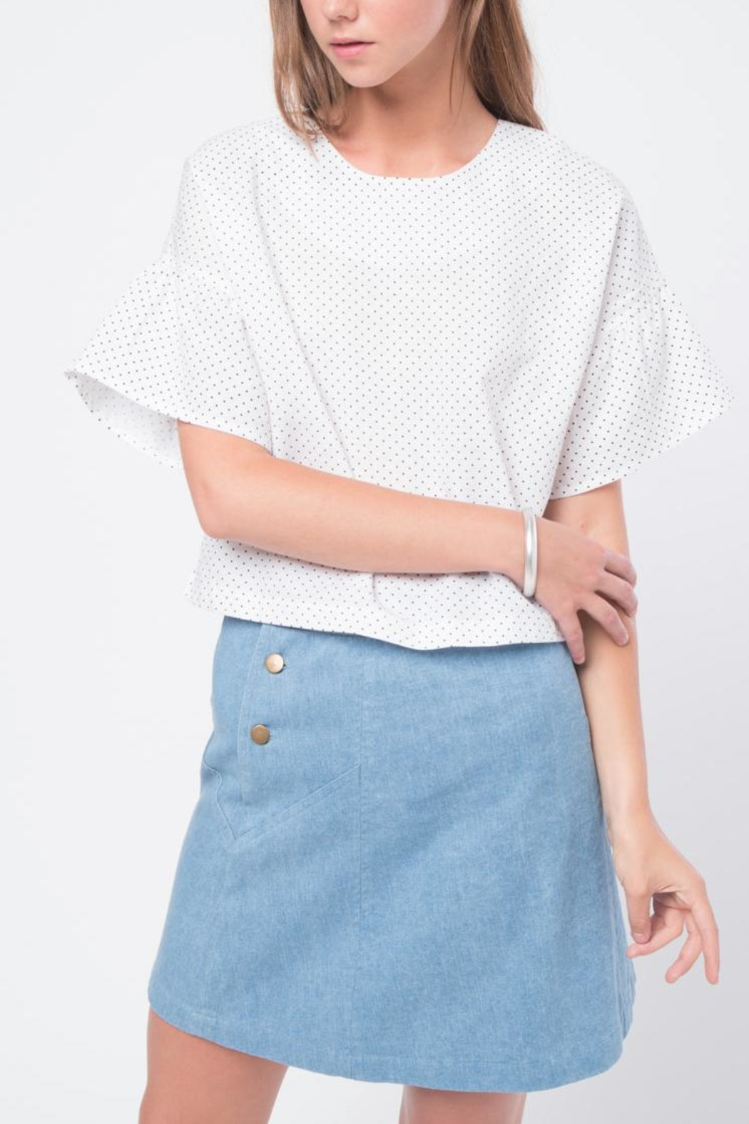 Movint Ruffled Sleeve Top - Front Cropped Image