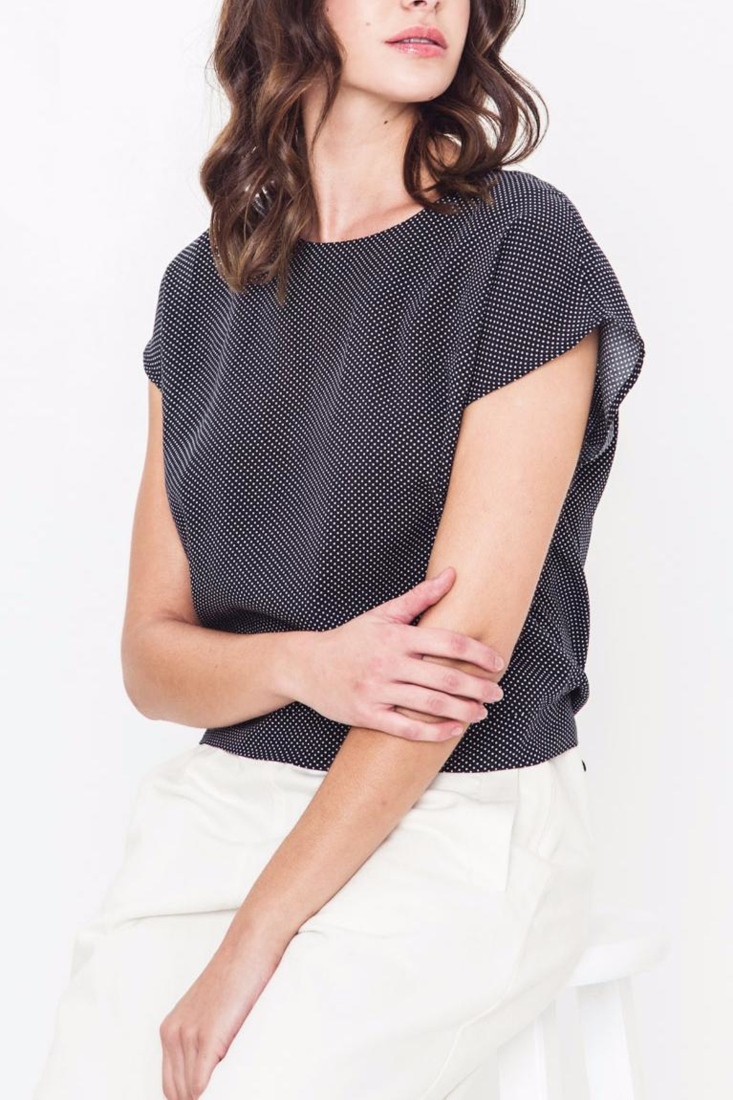 Movint Drop Shoulder Tie Top - Front Full Image