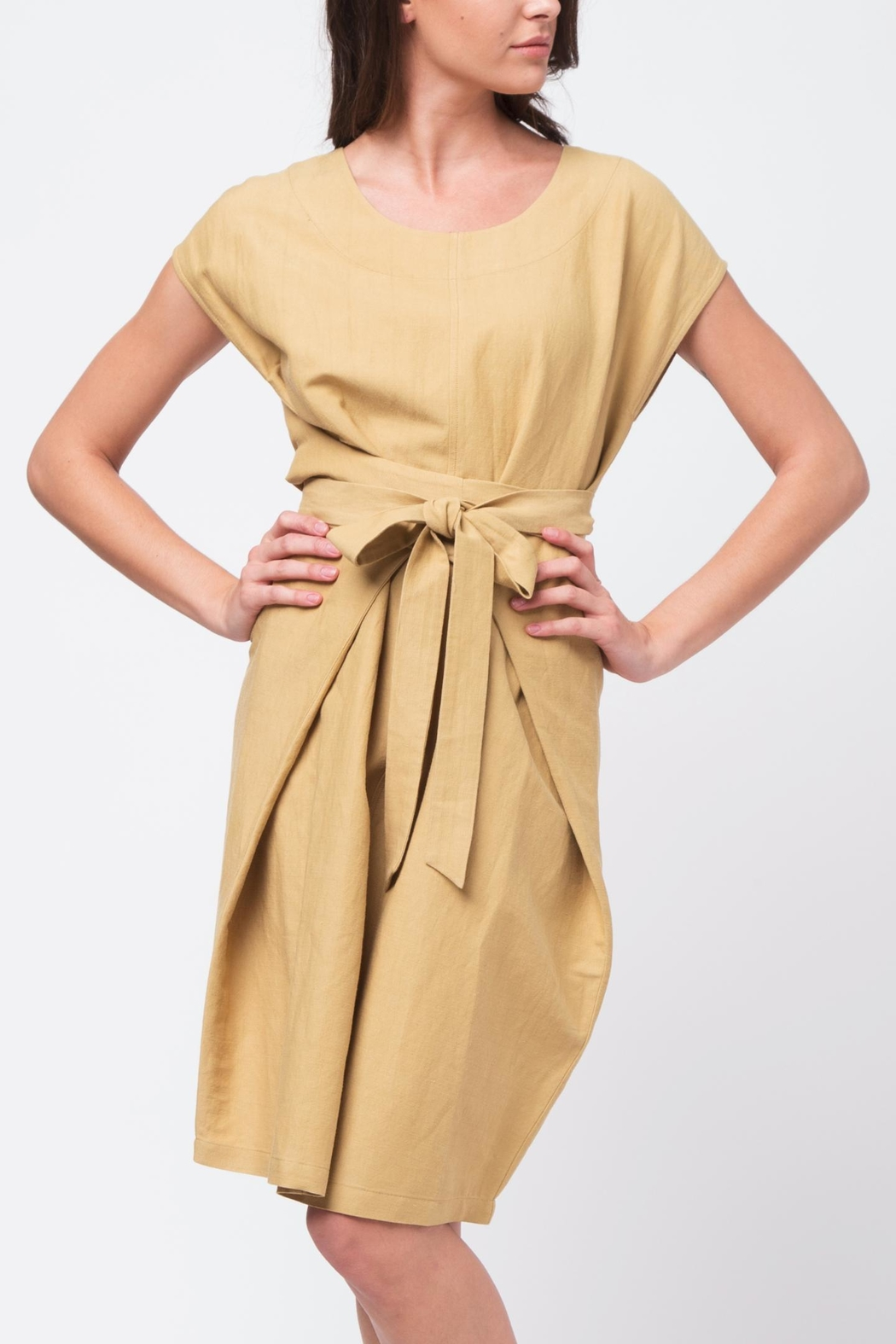 Movint Crisp Tie Waist Dress - Front Cropped Image