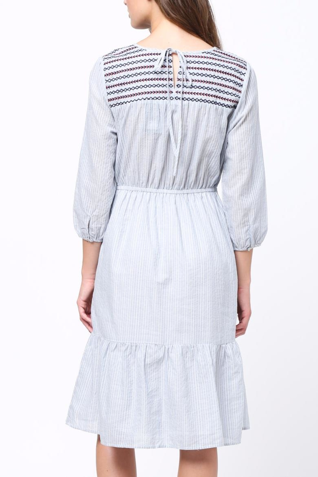 Movint Embriodery Shirring Dress - Front Full Image