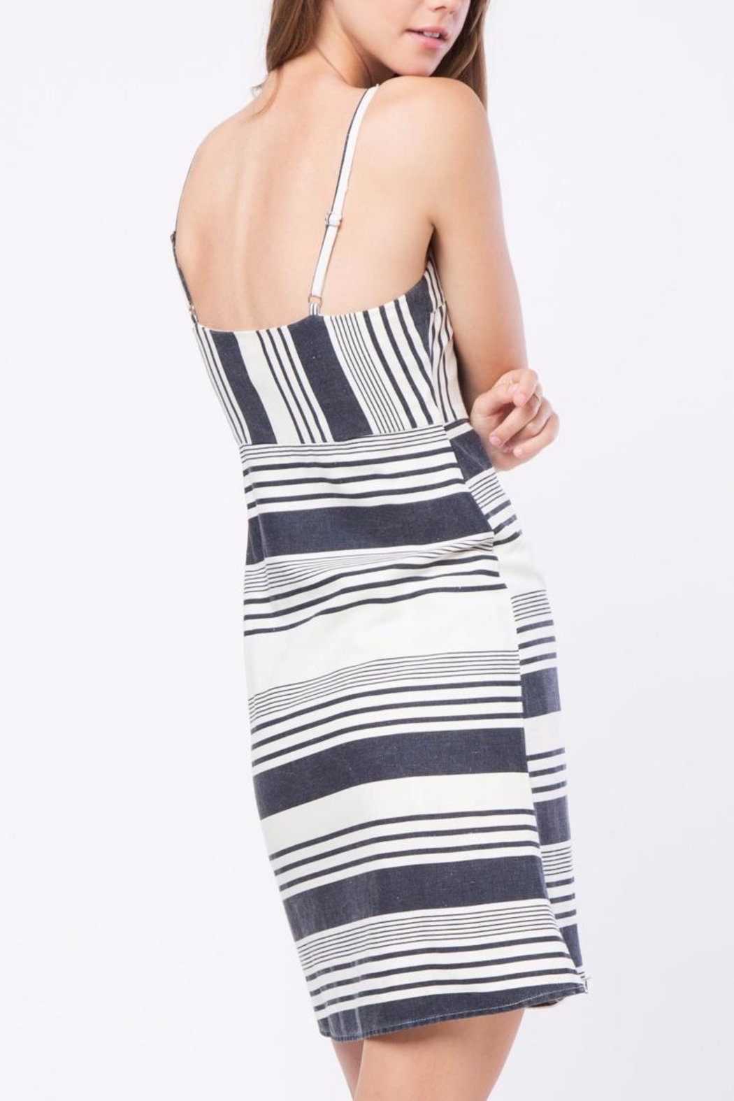 Movint Striped Knee Length Dress - Front Full Image