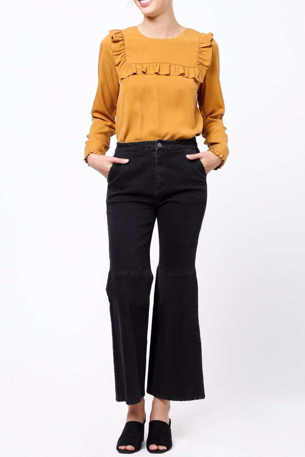 Movint Flared Hem Detail Pants - Back Cropped Image