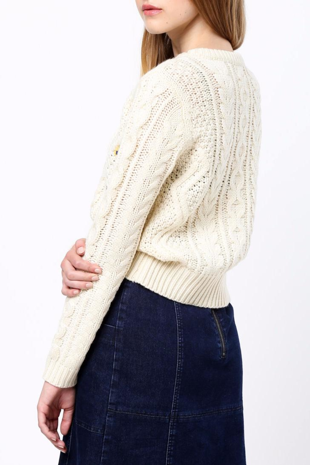 Movint Flower Embroidery Sweater - Front Full Image