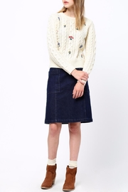 Movint Flower Embroidery Sweater - Back cropped