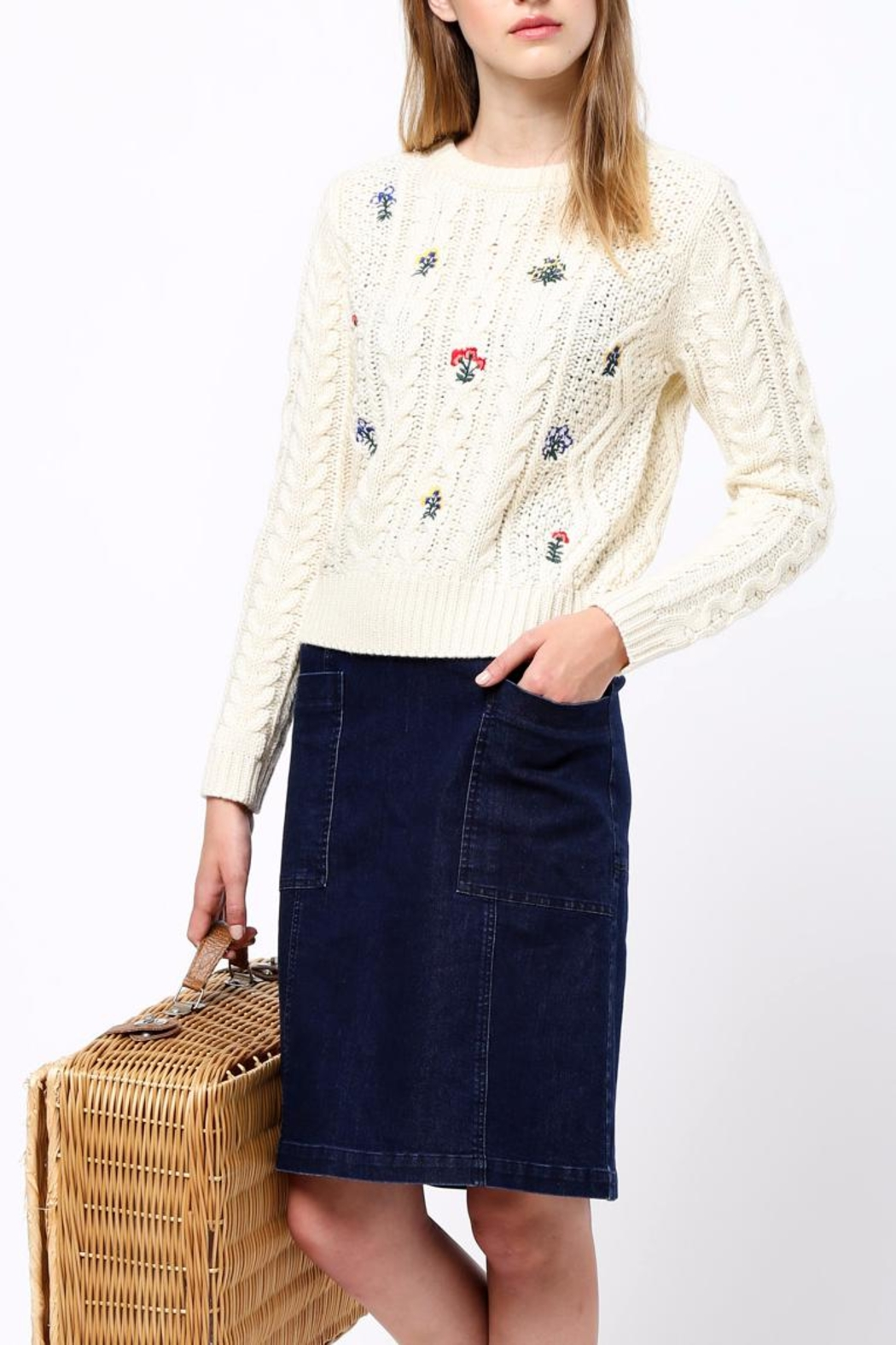 Movint Flower Embroidery Sweater - Main Image