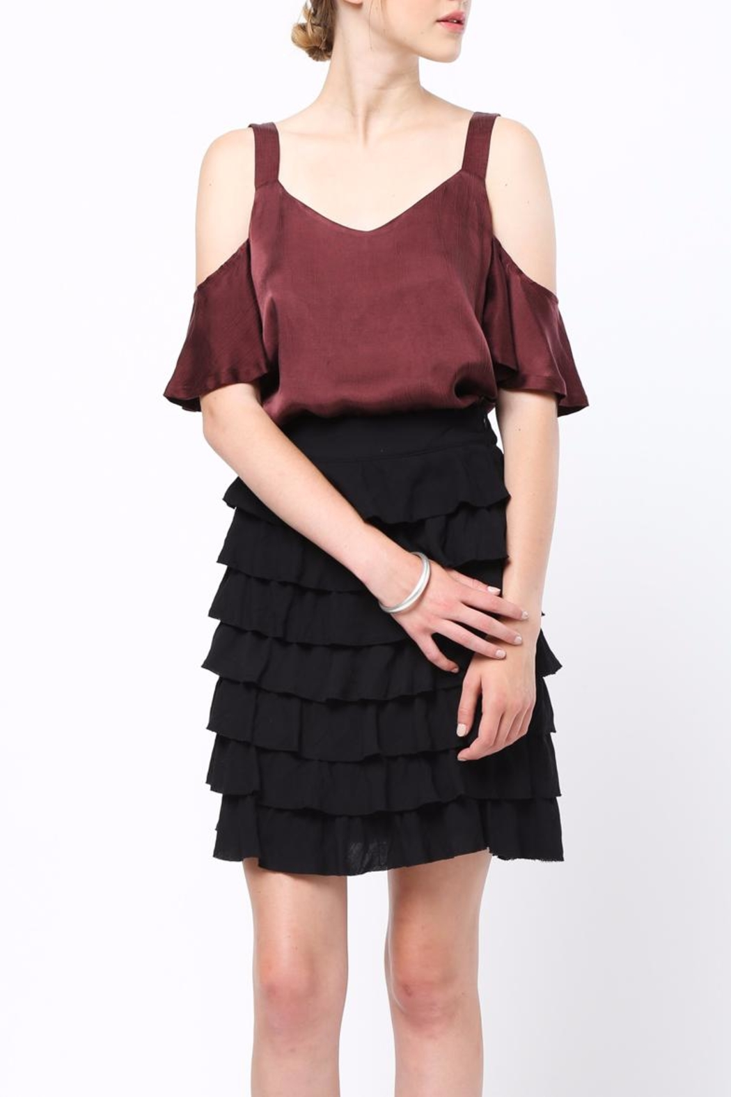 Movint Frayed Hem Ruffle Skirt - Back Cropped Image