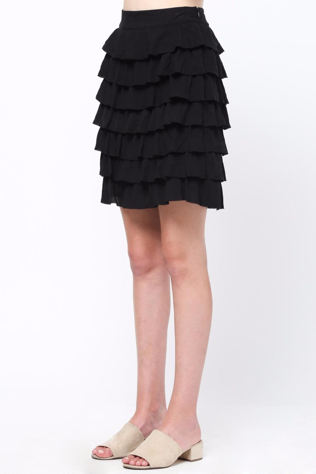Movint Frayed Hem Ruffle Skirt - Side Cropped Image