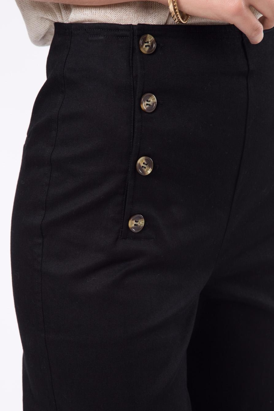 Movint Front Button Detail Pants - Back Cropped Image