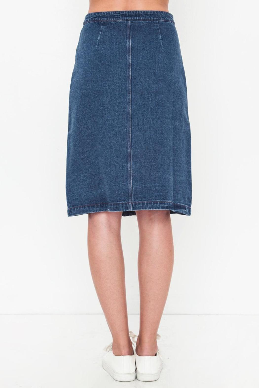 Movint Denim Knee Skirt - Side Cropped Image