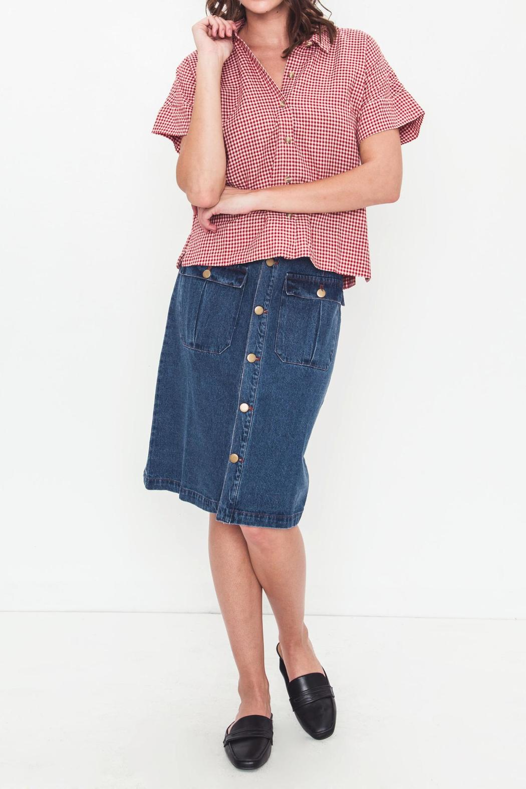 Movint Denim Knee Skirt - Back Cropped Image