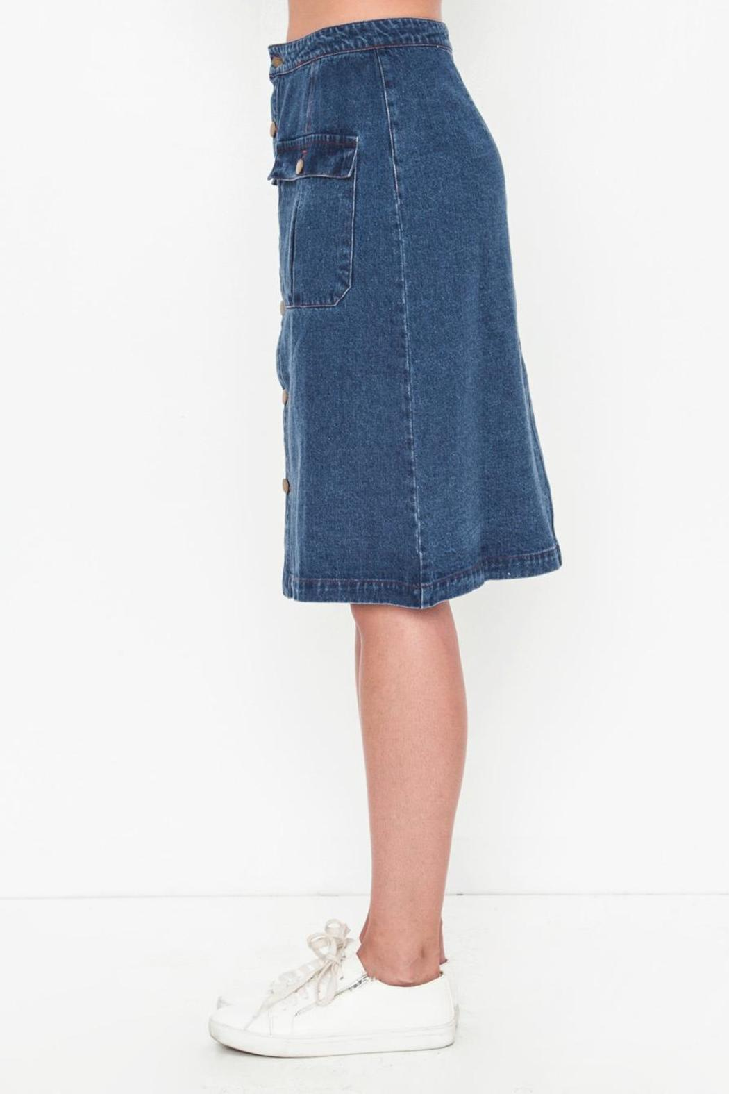 Movint Denim Knee Skirt - Front Full Image