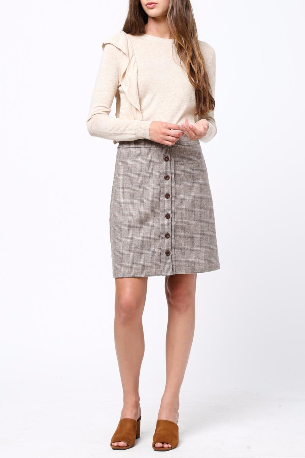 Movint Front Button Down Skirt - Back Cropped Image