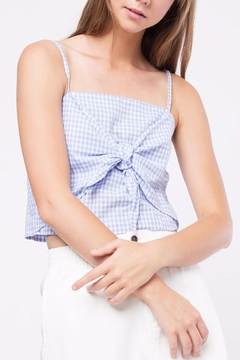 Shoptiques Product: Knot Cropped Checkered Top