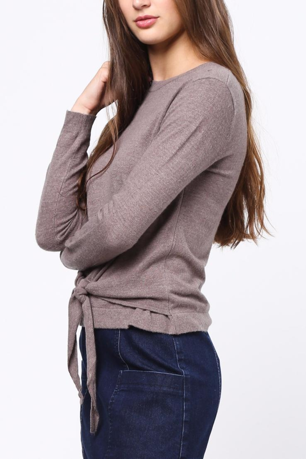 Movint Front Knot Detail Sweater - Side Cropped Image