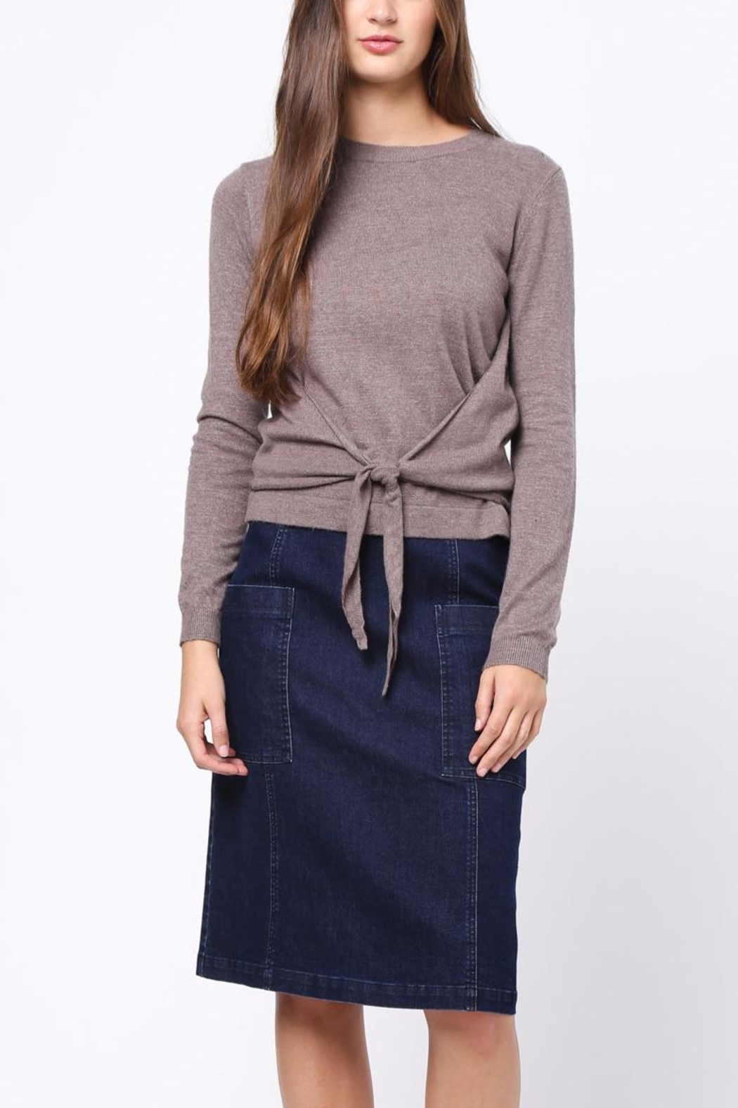 Movint Front Knot Detail Sweater - Back Cropped Image