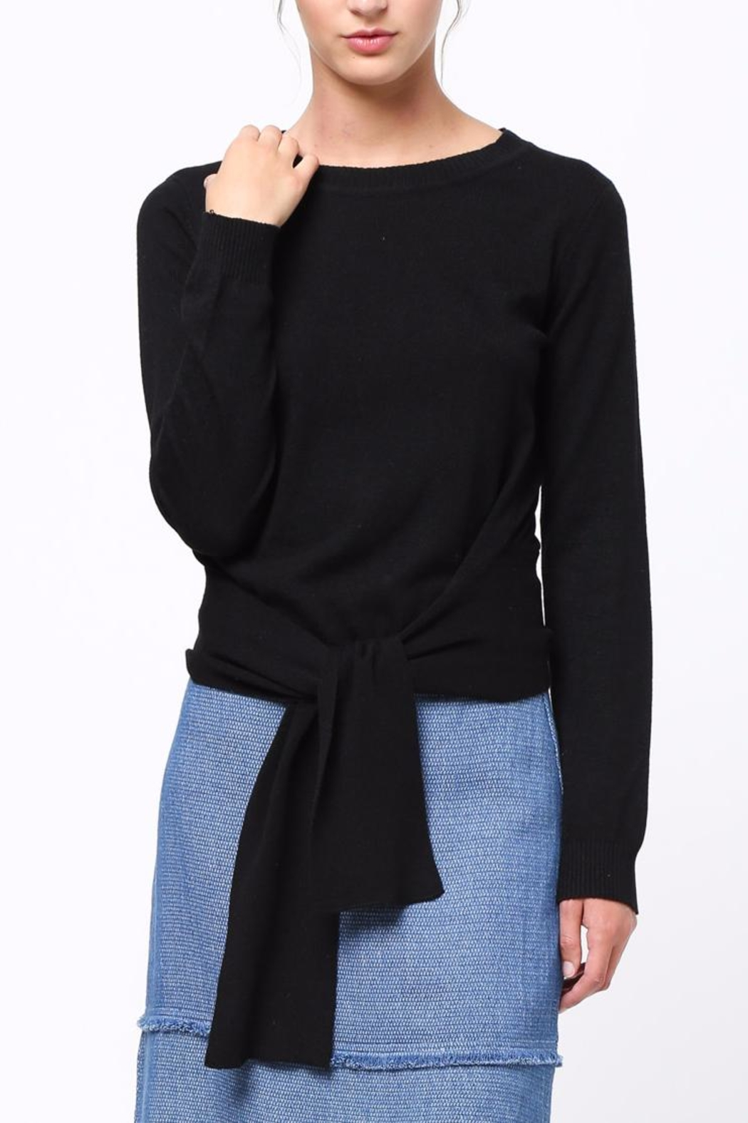 Movint Front Knot Sweater - Front Cropped Image