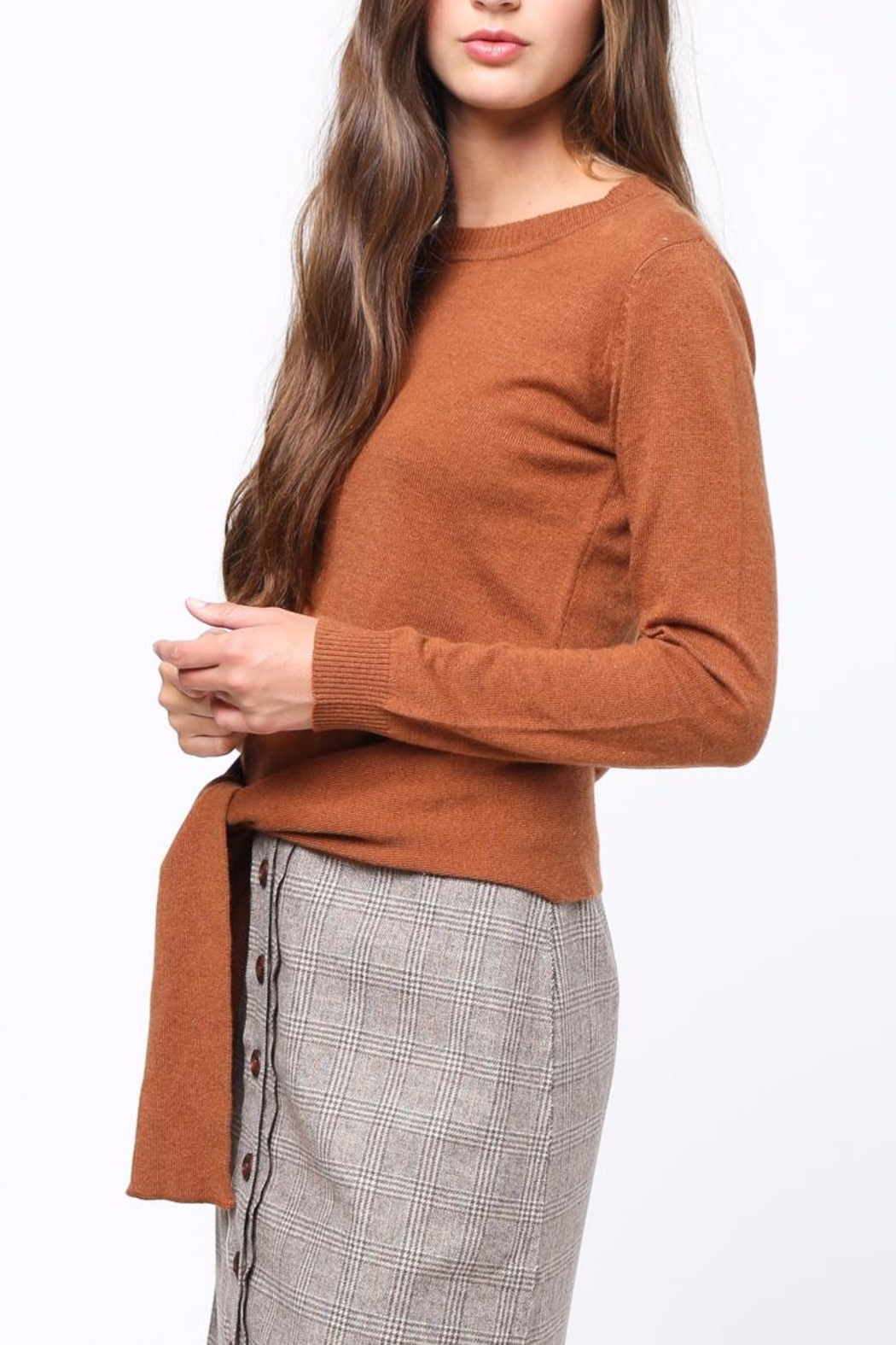 Movint Front Knot Sweater - Side Cropped Image