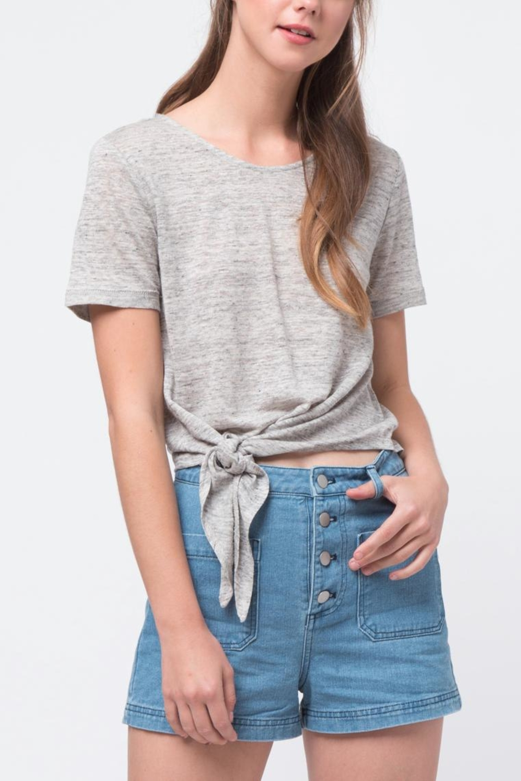 Movint Front Tie Shirt - Front Cropped Image