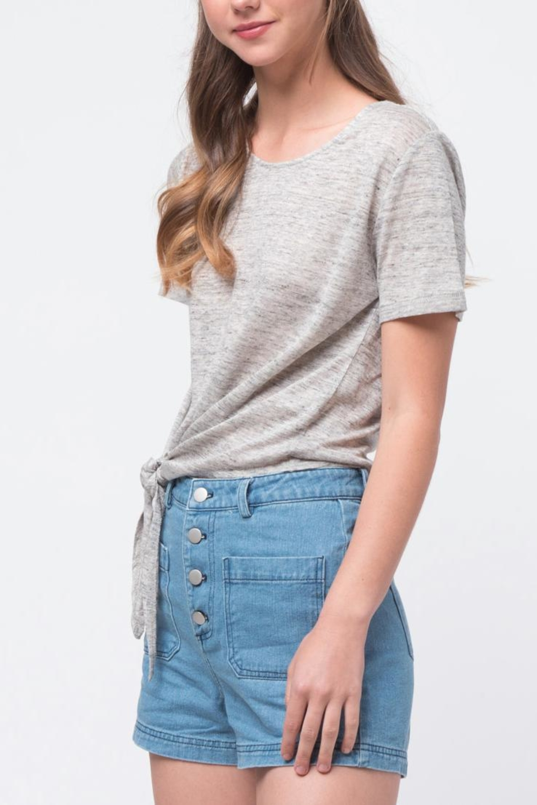 Movint Front Tie Shirt - Side Cropped Image