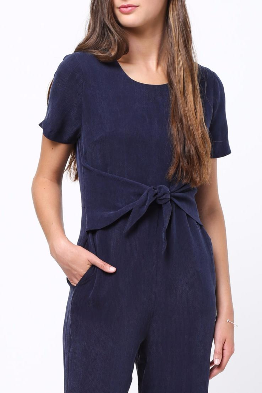 Movint Front Tie Detailed Jumpsuit - Back Cropped Image