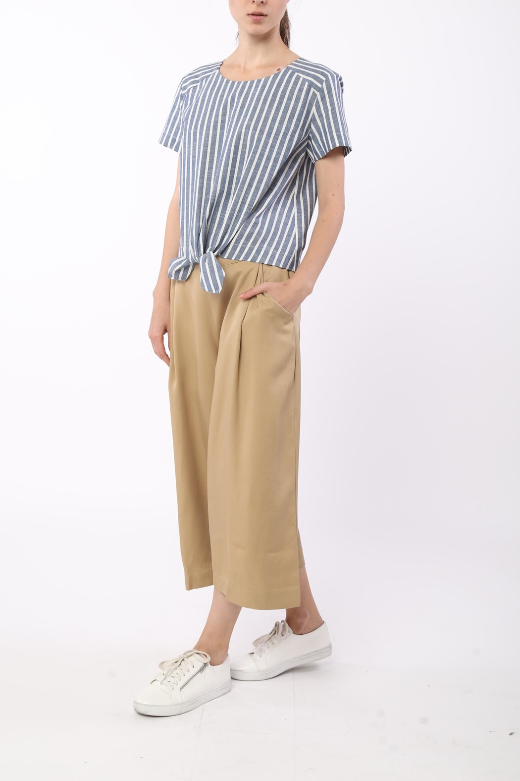 Movint Front Tie Striped Top - Front Full Image