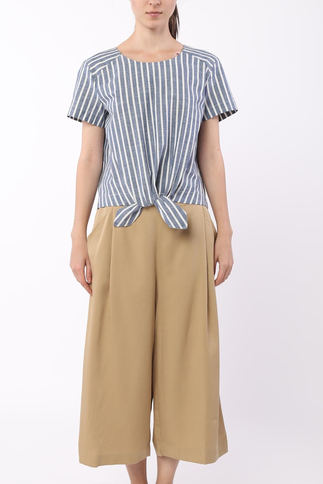 Movint Front Tie Striped Top - Main Image