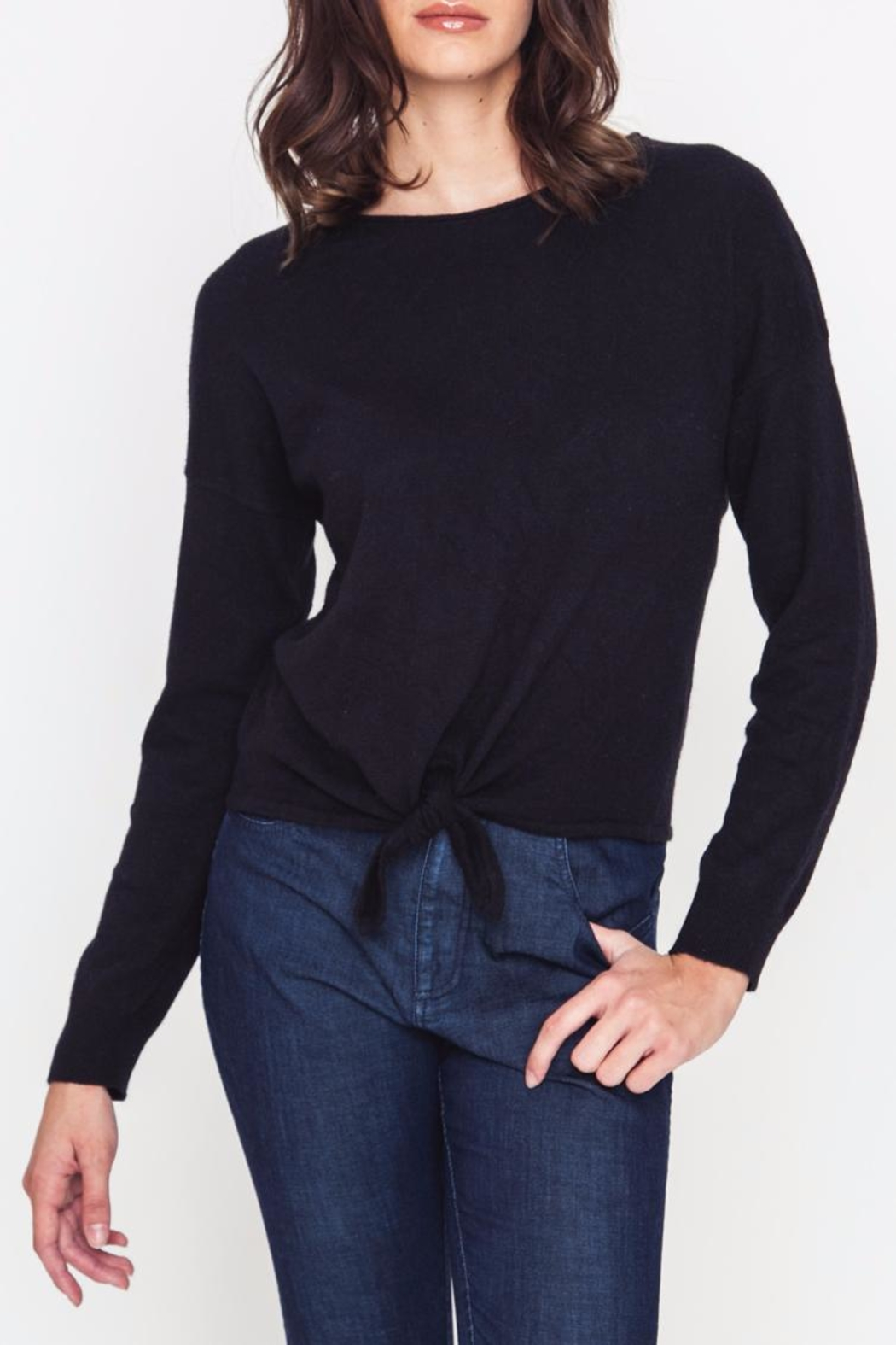 Movint Front Tie Sweater - Front Cropped Image