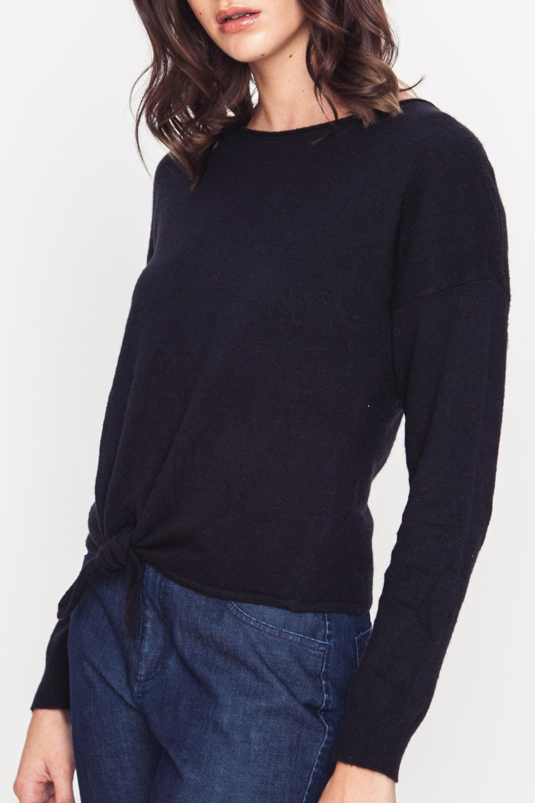 Movint Front Tie Sweater - Side Cropped Image