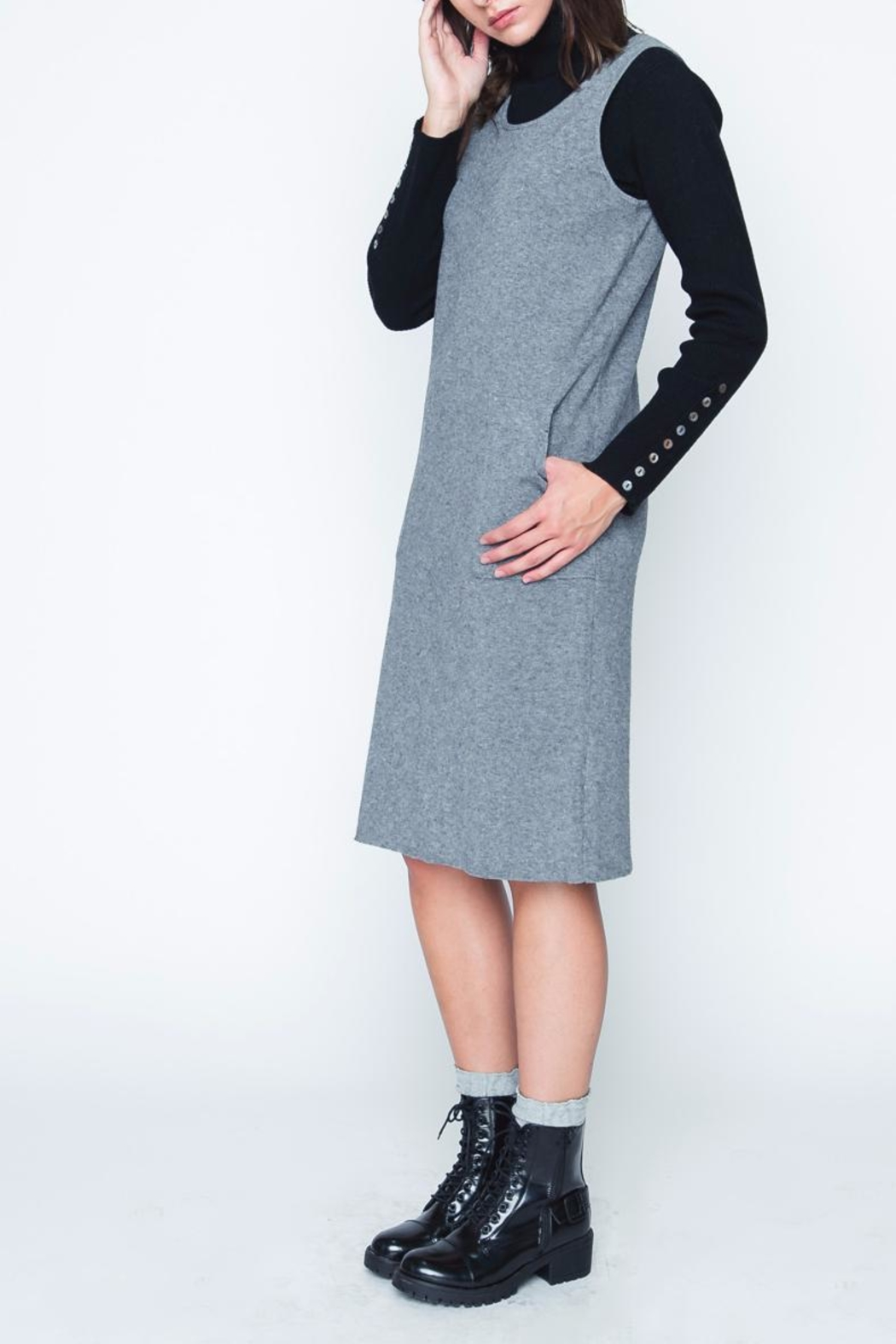Movint Gray Sweater Dress - Side Cropped Image