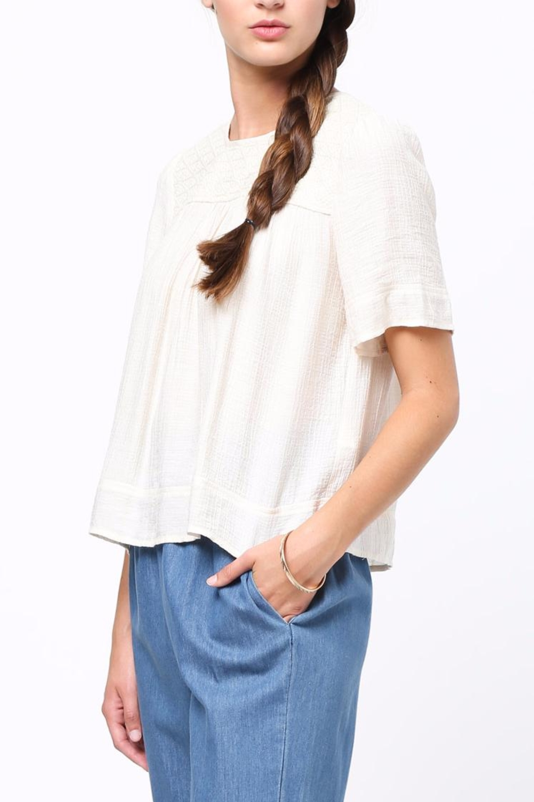 Movint Half Sleeved Peasant Top - Side Cropped Image
