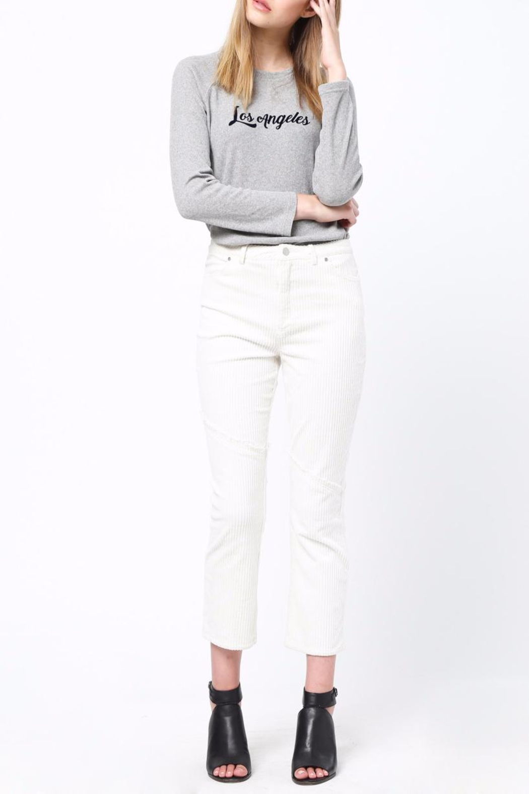 Movint Knee Frayed Hem Pants - Back Cropped Image