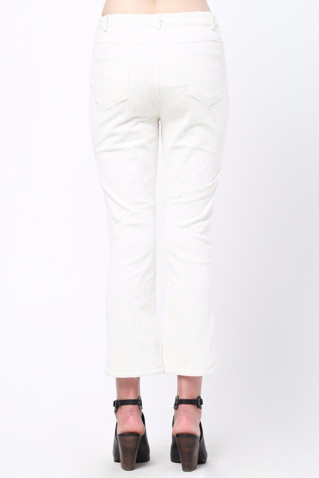 Movint Knee Frayed Hem Pants - Front Full Image