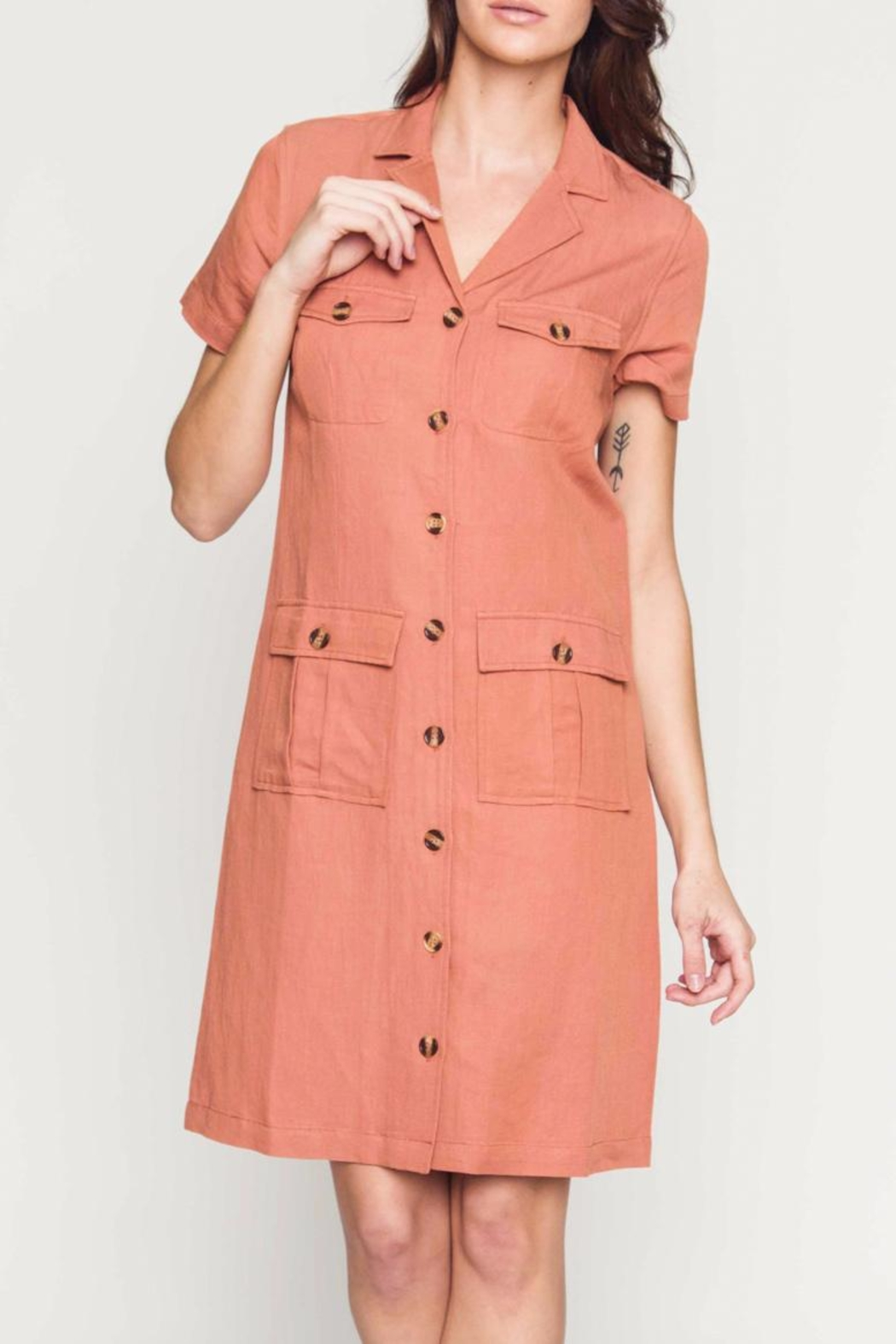 Movint Linen Cargo Dress - Front Cropped Image