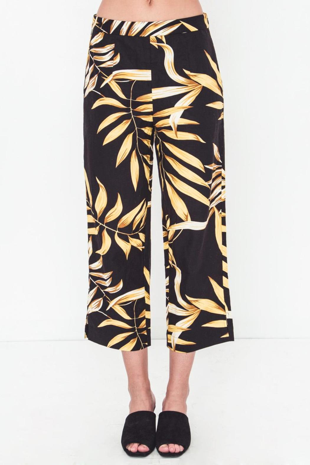 Movint Linen Printed Cropped Pants - Side Cropped Image