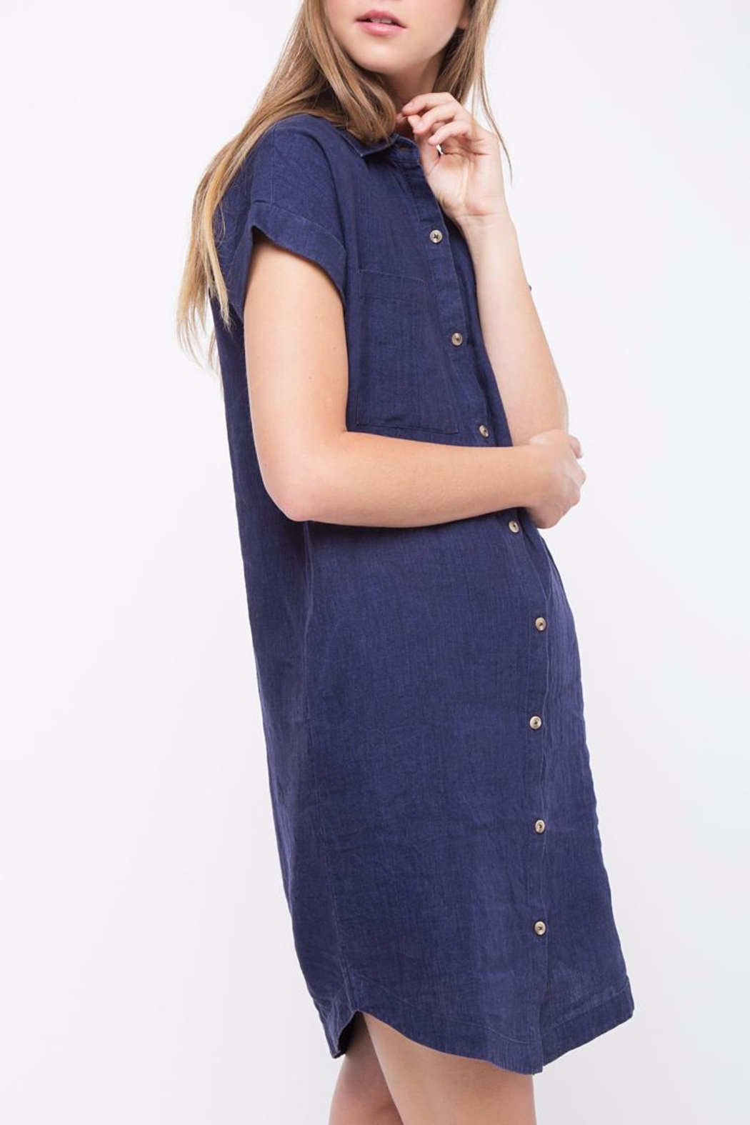 Movint Linen Button Down Dress - Side Cropped Image