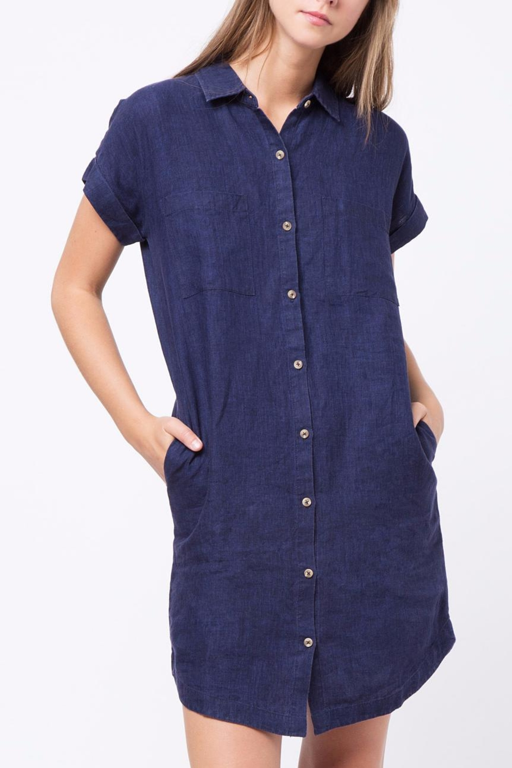 Movint Linen Button Down Dress - Front Cropped Image