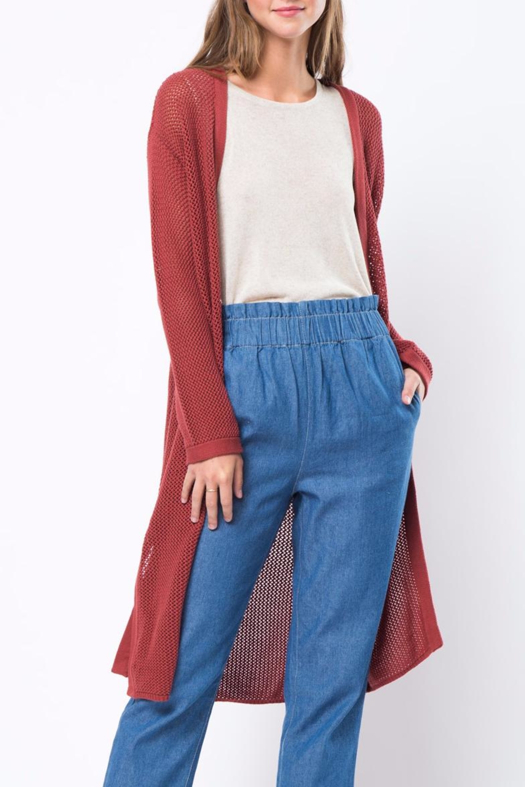 Movint Long Knited Cardigan - Front Cropped Image