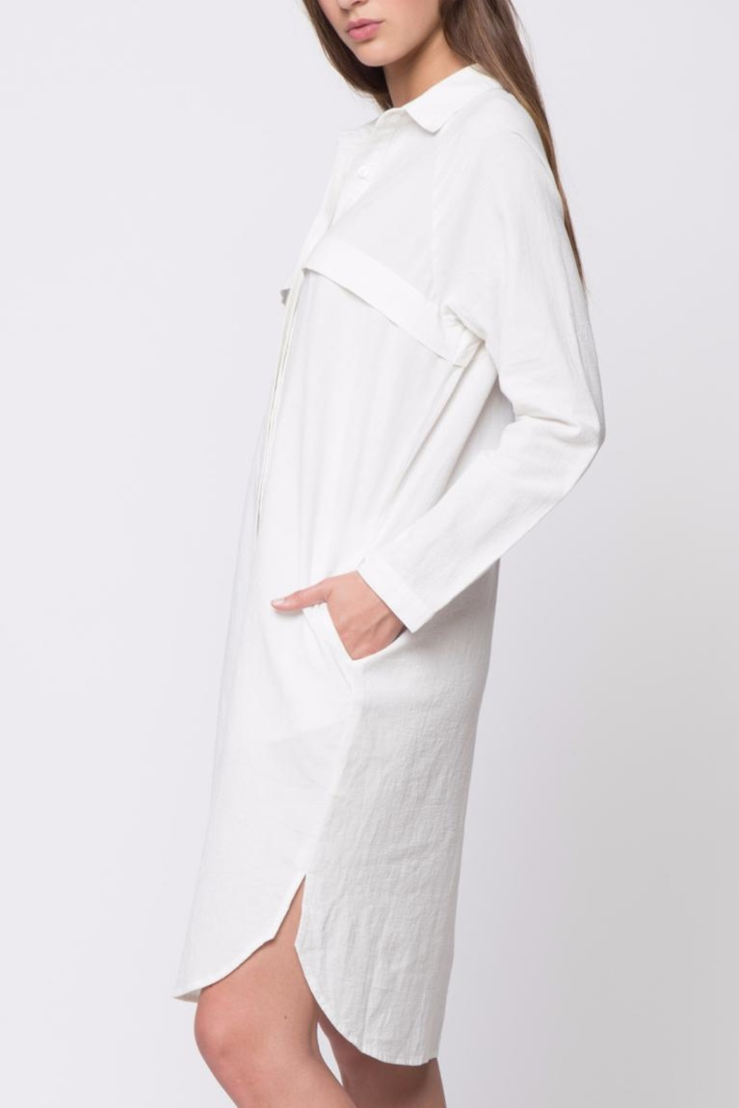 Movint Button Down Shirt Dress - Side Cropped Image