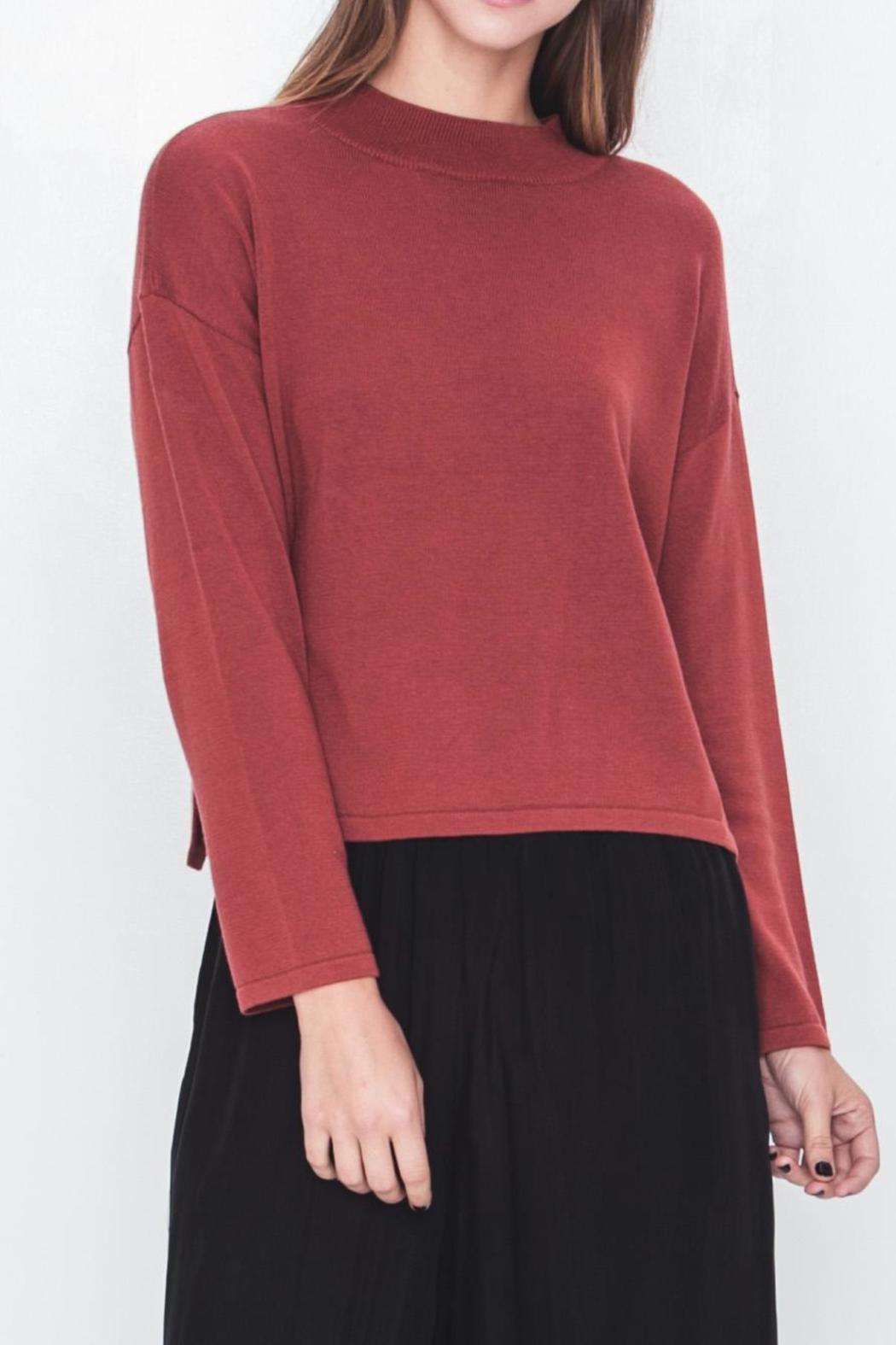 Movint Mock Neck Cropped Sweater - Front Cropped Image