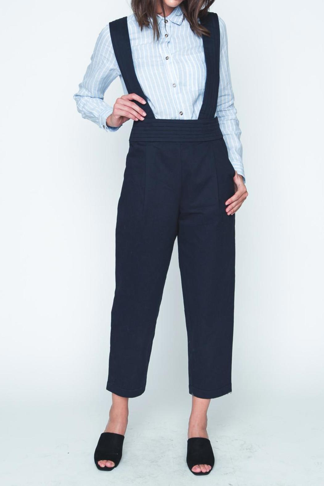 Movint Navy High Waist Overall - Front Cropped Image