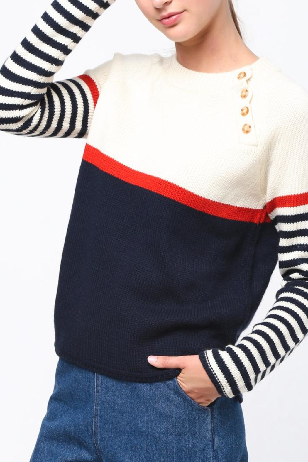 Movint Neck Button Sweater - Main Image