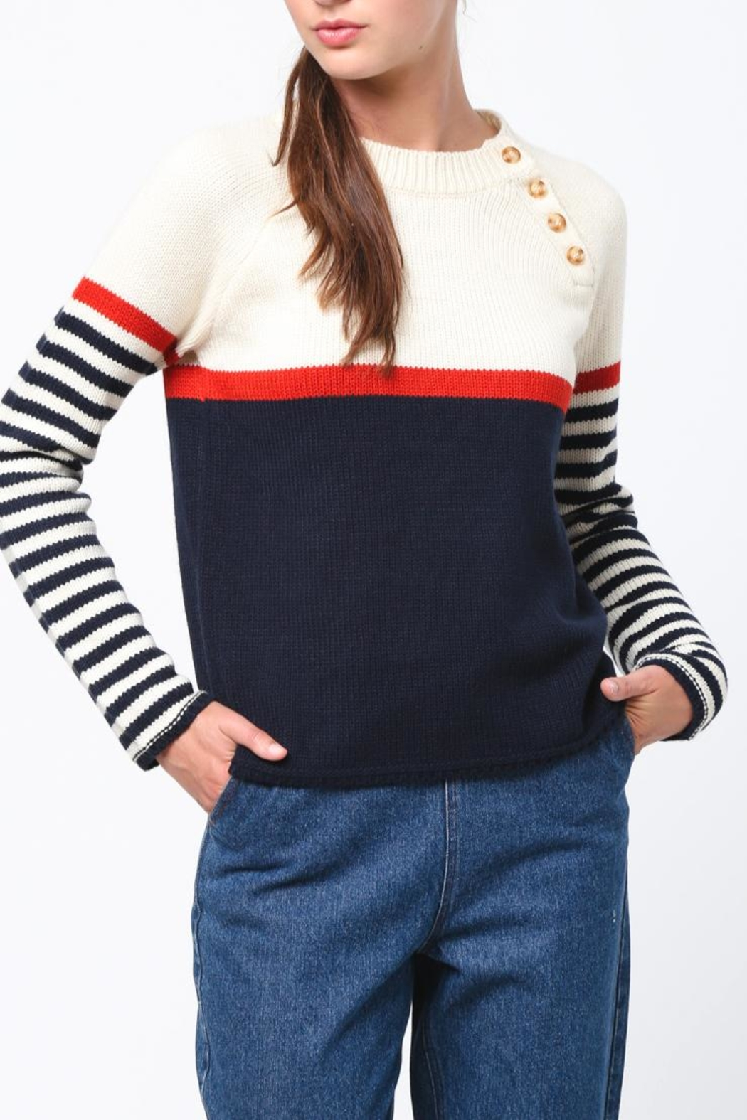 Movint Neck Button Sweater - Front Full Image