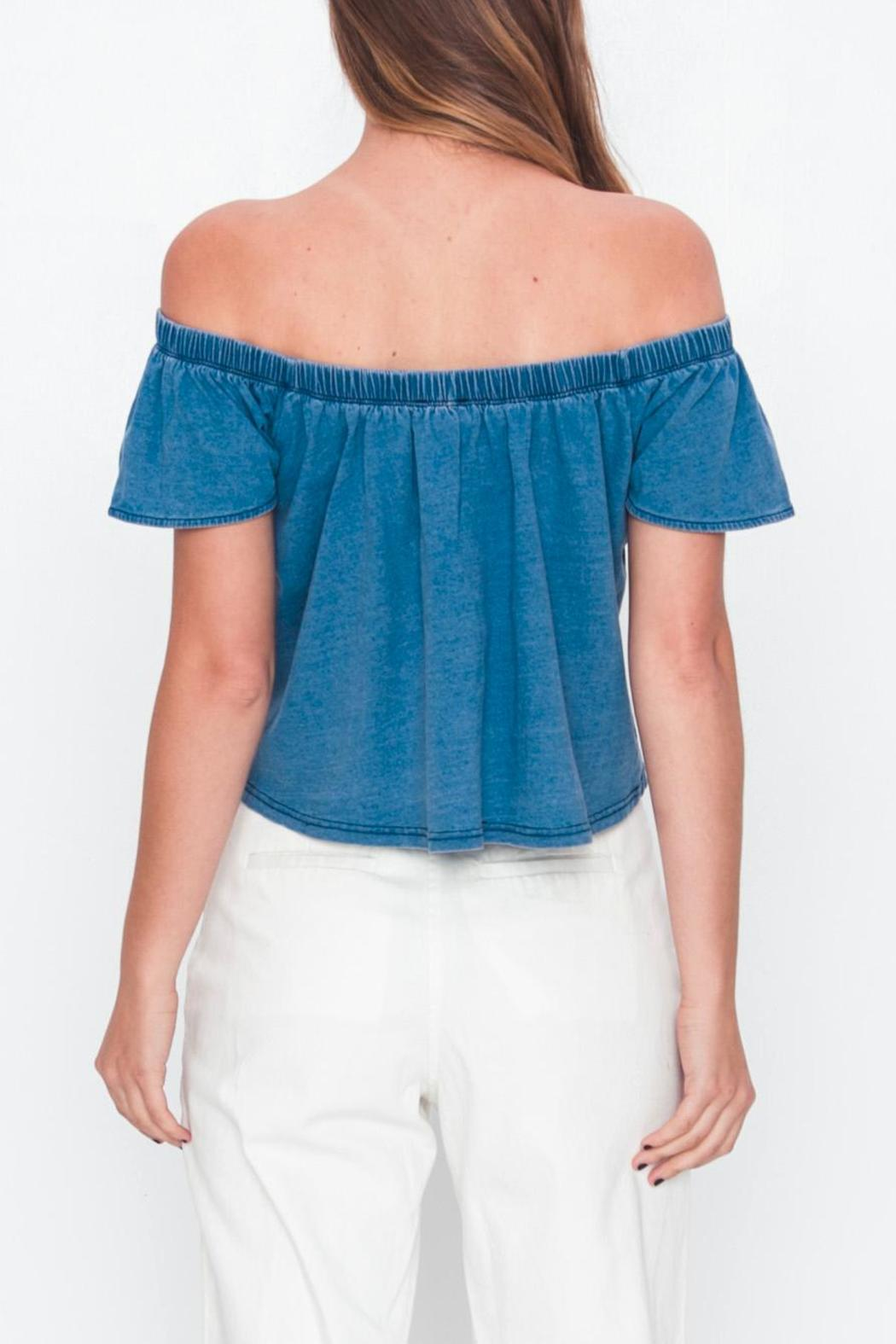 Movint Off-Shoulder Denim T-Shirt - Side Cropped Image