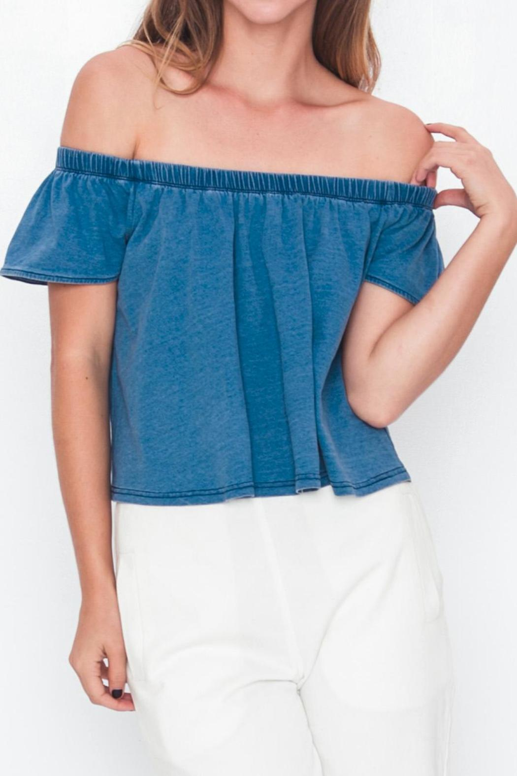 Movint Off-Shoulder Denim T-Shirt - Main Image